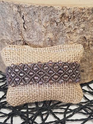 Bracelet manchette macramé et perles - marron glacé