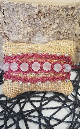 Bracelet manchette trois brins - framboise