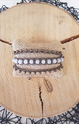 Bracelet manchette trois brins - marron glacé