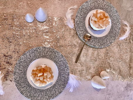 Cheesecake vanille  & ananas rôti