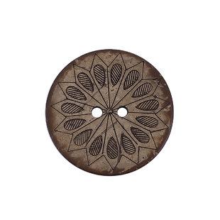 Bouton en coquille de coco - motif fleur