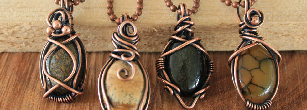 Natural Cabachons wrapped in copper
