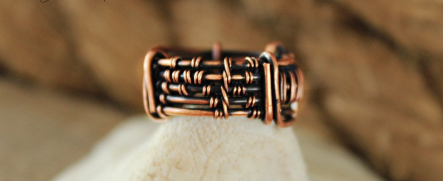 Men's Copper Ring with Wire Woven Initia