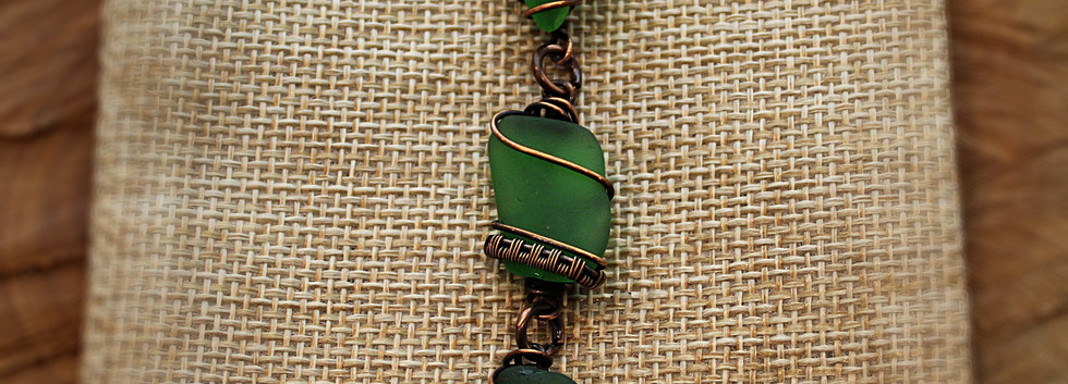 Middle Caicos Sea Glass pendant in coppe