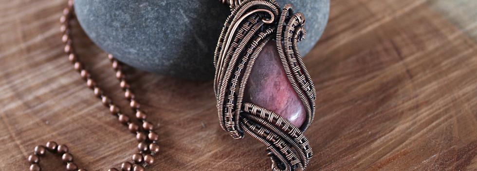 Copper wire woven Rhodonite Pendant.jpg