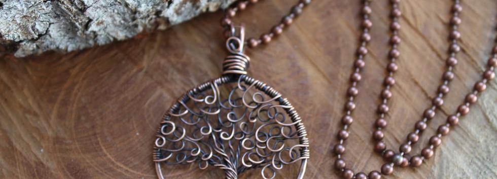 Tree of life pendant swirly leaves