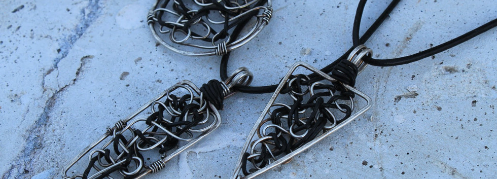 Men's Renegade Pendants- silver and leat