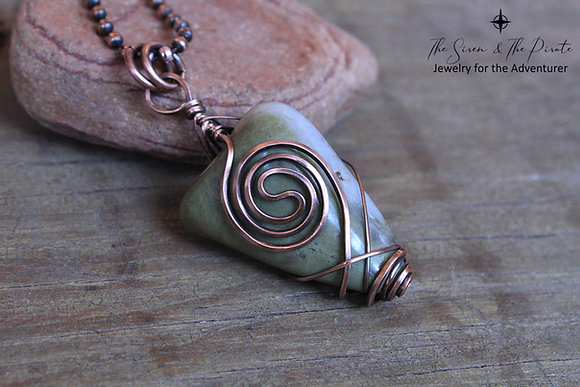 Copper wire wrapped vortex pendant