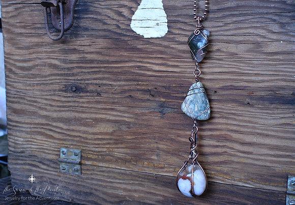 Flower Agate multi stone pendant