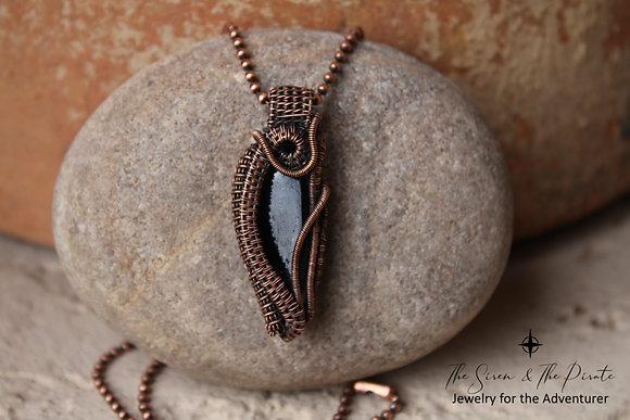 Black Tourmaline Gemstone | Copper Wire Woven Pendant