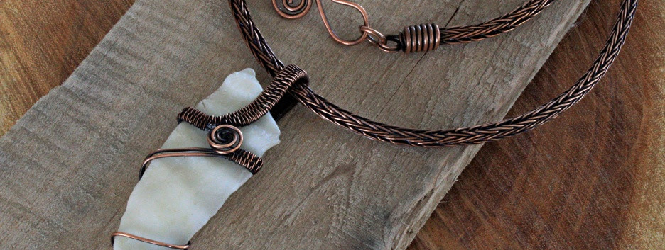 Conch shell on Copper Viking Knit chain