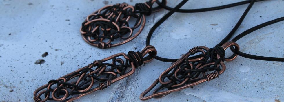 Men's Renegade Pendants- copper and leat