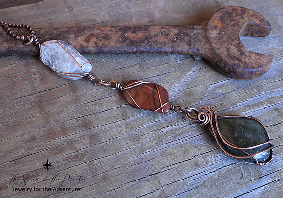 Wire wrapped multi stone pendant