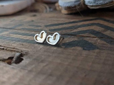 Sterling silver double layered heart stud, finished with sterling silver posts a