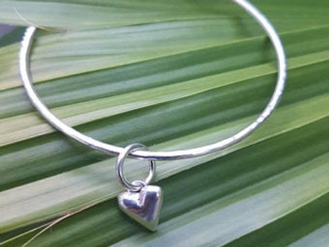 Sterling Silver Bangle with a puff heart in sterling silver, made to order