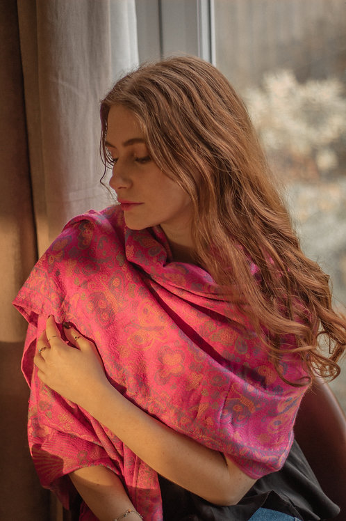 Vintage Butterfly and Tassel Pashmina Scarf -  Fuchsia Pink Mix