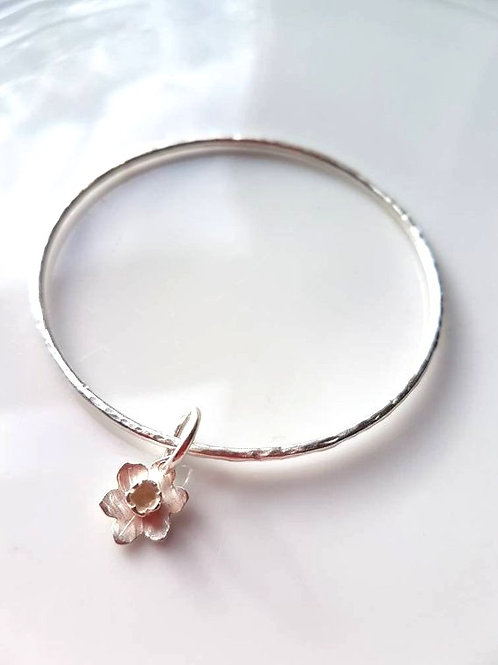 Sterling Silver Bangle with a daffodil charm