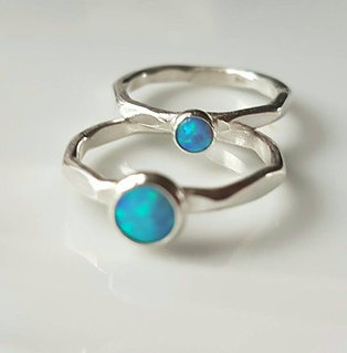 Sterling Silver Ring with blue synthetic opal