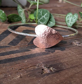 Sterling Silver Bangle with copper heart/leaf