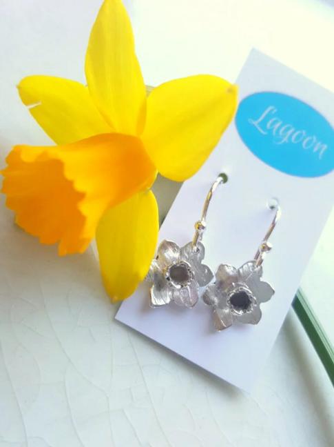 Sterling Silver daffodil earrings