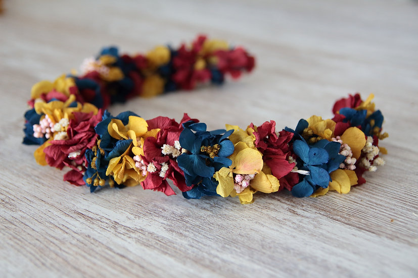 Corona hortensia amarillo rojo azul