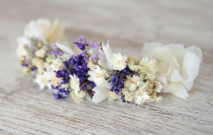 Tocado flor blanco lila