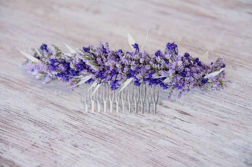 Peineta flor preservada lila