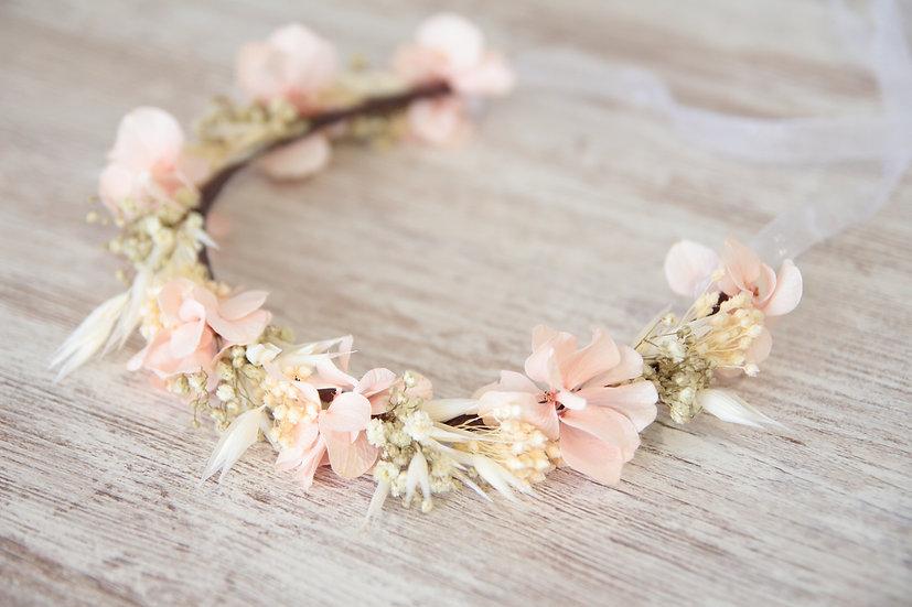 Corona comunión flor rosa beige