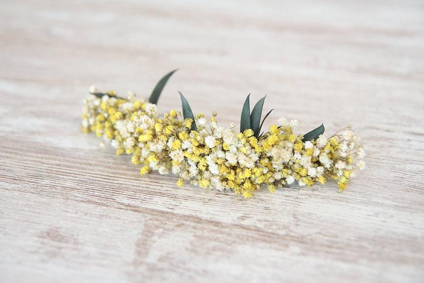 Tocado flor preservada amarillo