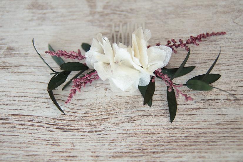 Peineta flor hortensia eucalipto