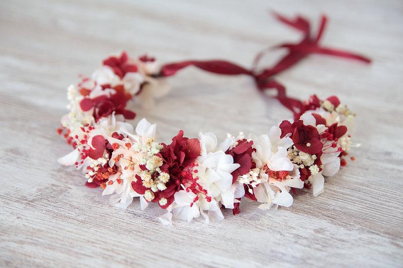 Corona flor preservada rojo blanco