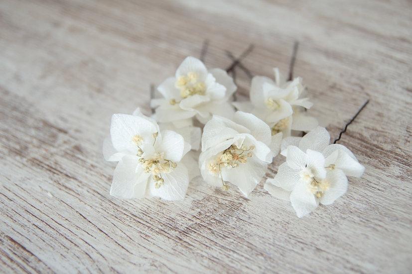 Horquillas flor blanca