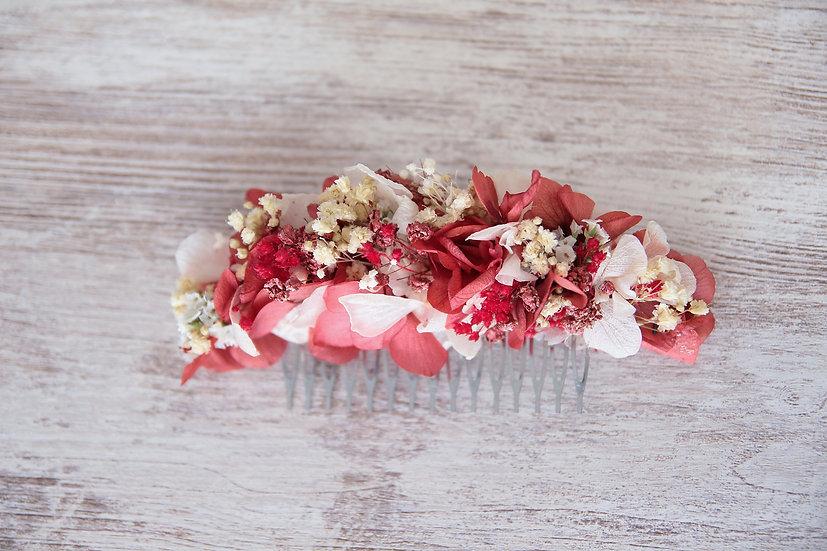 Peineta flor preservada blanca roja