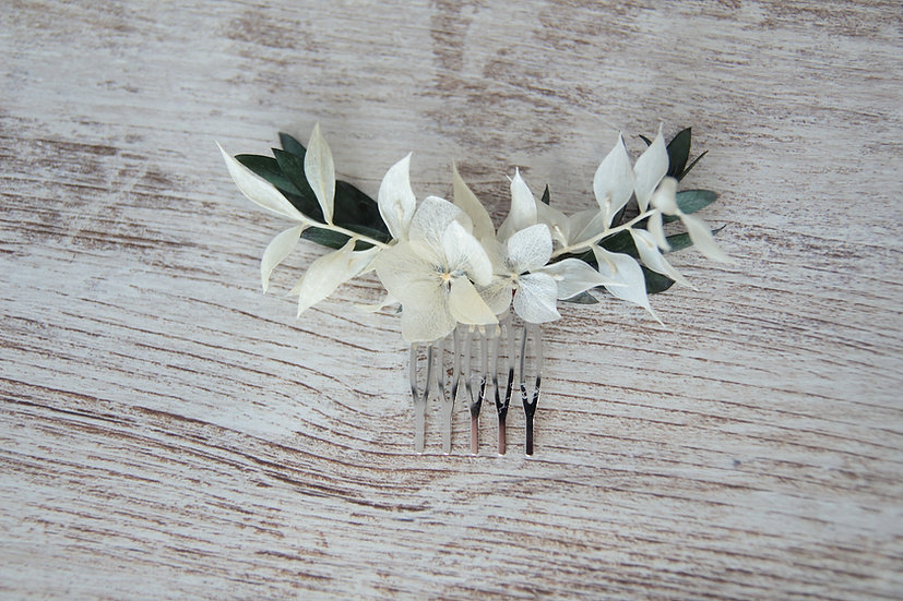 Peineta flor preservada blanca verde
