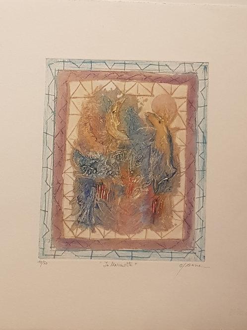 """Lithographie originale de Osanne """" La Marmotte """""""