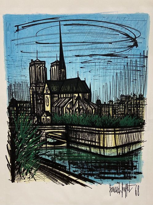 """Lithographie originale de Buffet """"Notre-Dame de Paris"""""""