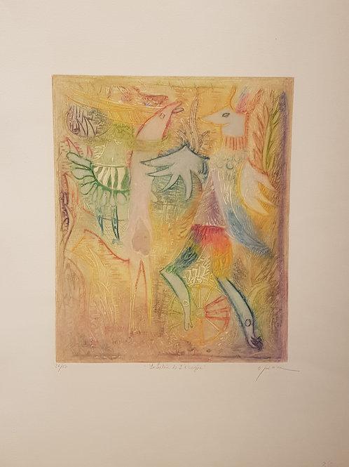 """Lithographie originale de Osanne """" Le Lutin de L'écureuil """""""