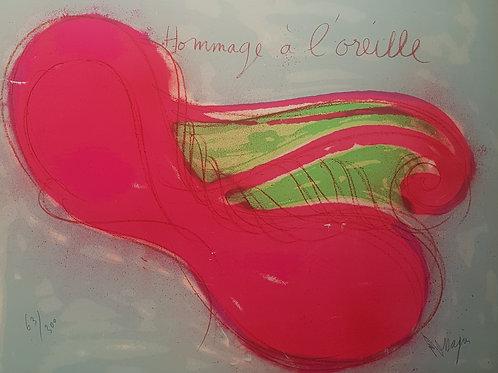"""Lithographie originale de Messagier """" Hommage à l'oreille """""""
