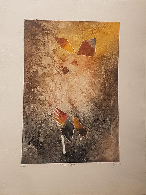 """Lithographie originale de Osanne """" Sentier d'oubli """""""