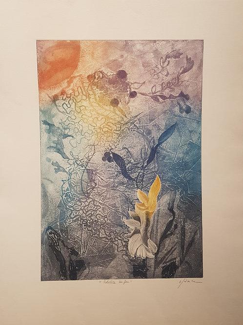 """Lithographie originale de Osanne """" Solstice de feu """""""