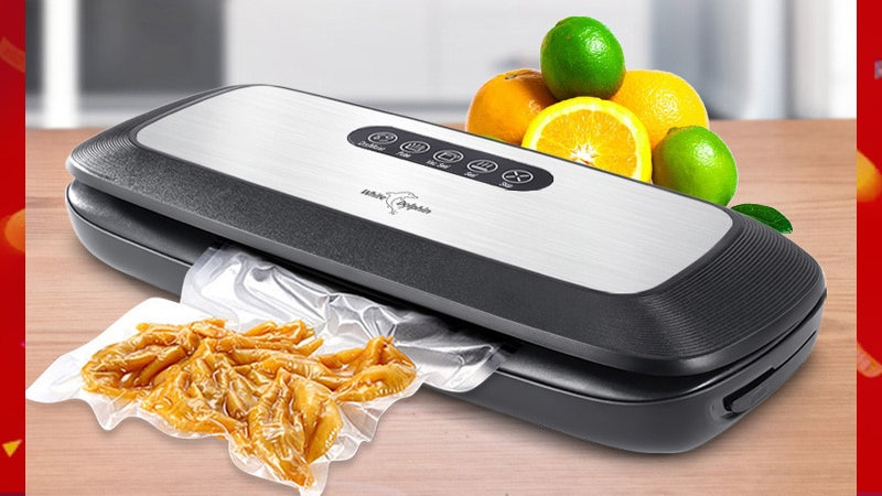 Household Automatic Food Vacuum Packaging Machine W/ 10pcs Food Saver Bags