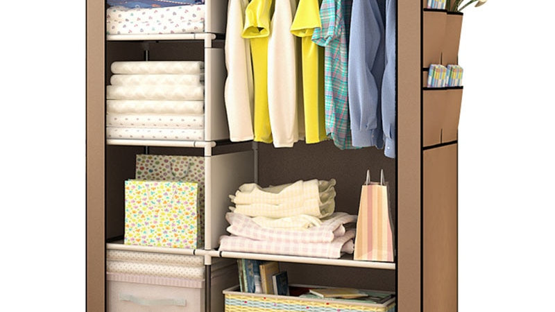 Folding Portable Clothing Storage Cabinet Bedroom Furniture
