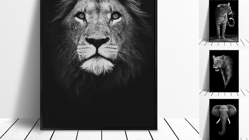 Canvas Painting: Lion, Elephant, Deer or Zebra posters