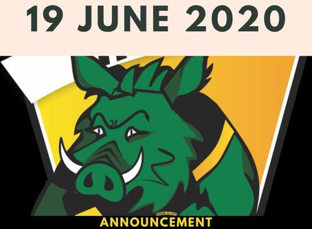 19 JUNE 2020 ANNOUNCEMENTS