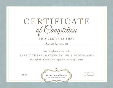 CERTIFICATE_BARELY THERE NUDE_Sarah Lomb
