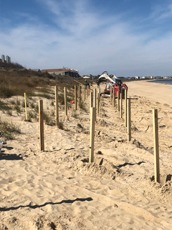 Installing Sand Fence on Ocean View Beac