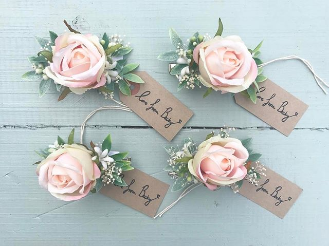 Blush faux rose clips for 3 bridesmaids and a matching bride! #flowerstagram #weddingstyle #love #br