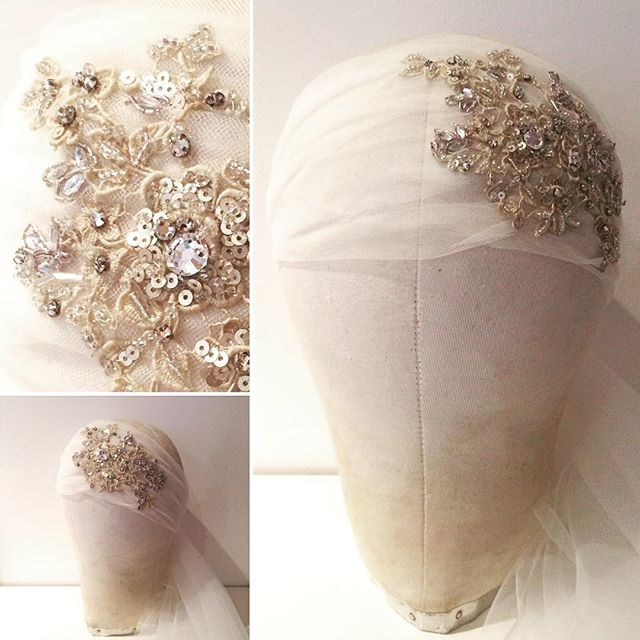 Hand beaded vintage lace on fine veiling
