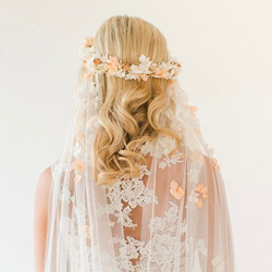 Amelia crown and veil 🌸 available in blush or white  Photograph by _summerlilyphoto MUA & hair _bel