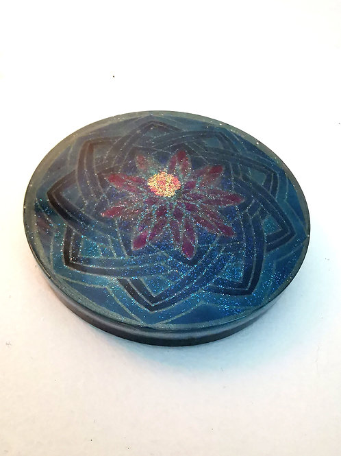 Shungite infused Orgone Coaster, Flower